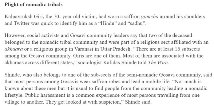 The Wire doubt Hindu identity of two Juna Akhara sadhus, victims of Palghar lynching