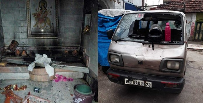 Bengal police says Muslims in Telinipara attacked Hindus with swords, bombs, gas cylinders and burned their houses down because of a 'taunt'