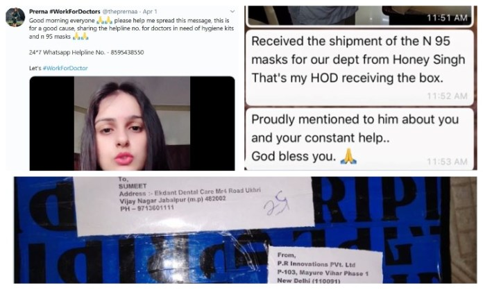 Prerna Dawar, a marketing professional and fashion influencer, has been helping to supply PPEs to medical professionals