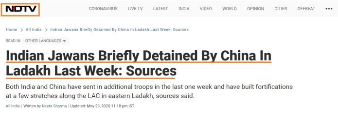 NDTV reports fake news