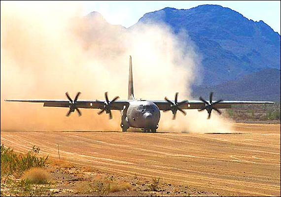 Image of an C-130J Hercules of the IAF landing on the DBO airstrip