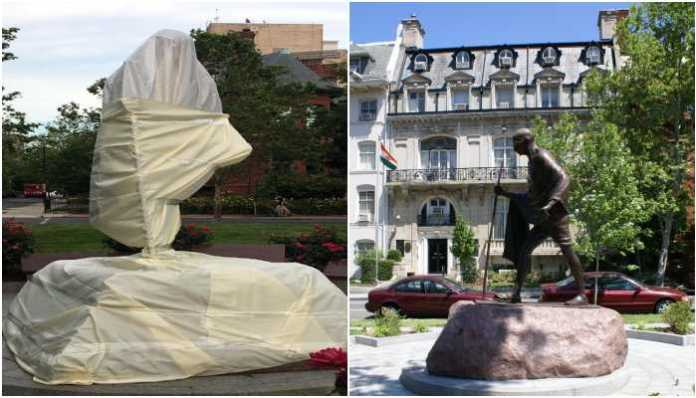 Mahatma Gandhi statue vandalised by rioters in USA