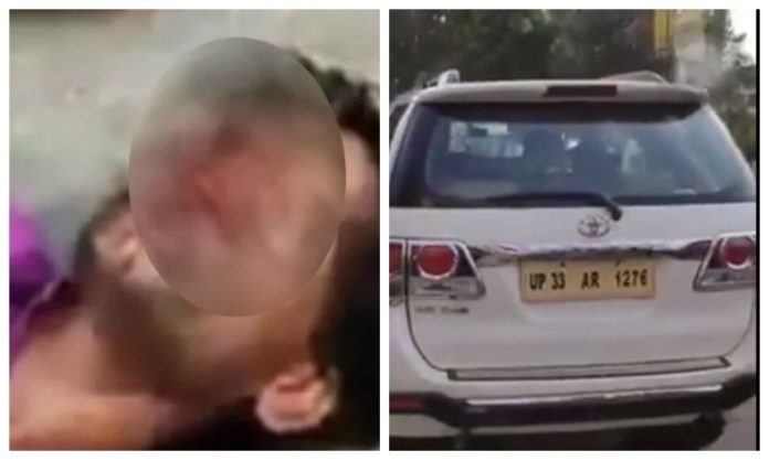 A rickshaw puller in Lucknow brutally beaten by SP MLA's armed security guard,