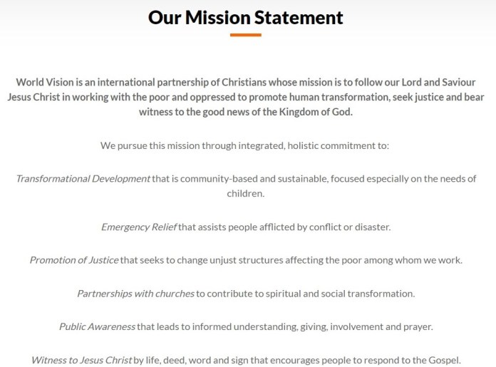 The mission statement of World Vision
