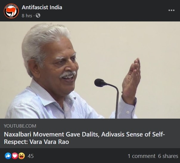 Antifascist India is another Antifa page on Facebook