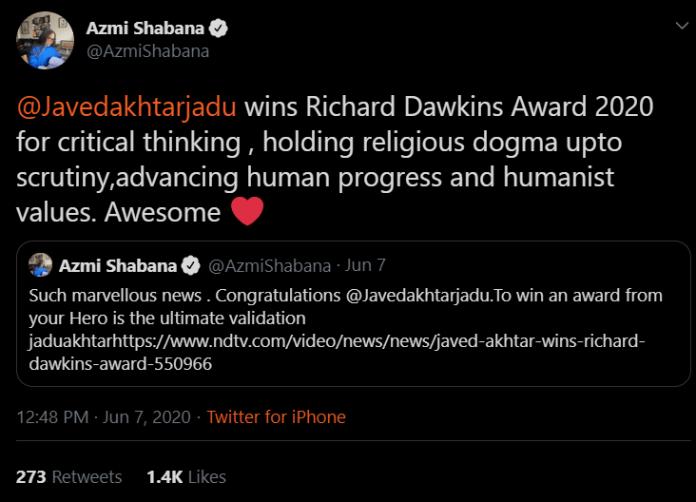Shabana Azmi congratulated Javed Akhtar on social media for winning the award