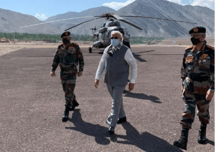 PM Modi makes a surprise visit to Ladakh with CDS and COAS