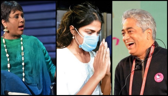 Trouble in paradise: Barkha Dutt targets Rajdeep Sardesai after his interview of Rhea Chakraborty, calls him 'schizophrenic'