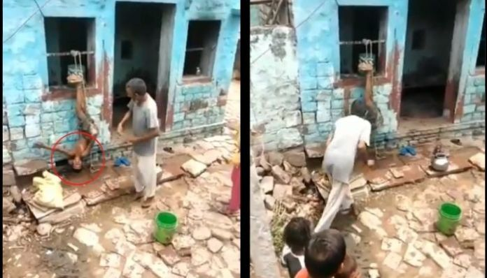 Agra: Drunk man ties son upside down and beats him brutally. Watch