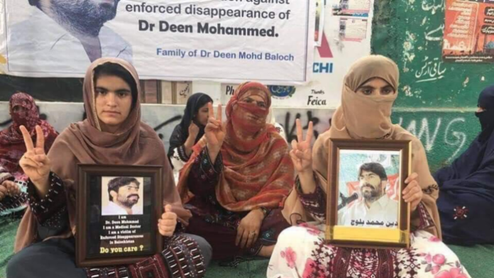 Deen Mohammad Baloch's daughters protesting against the Pakistan government to demand the whereabouts of their father