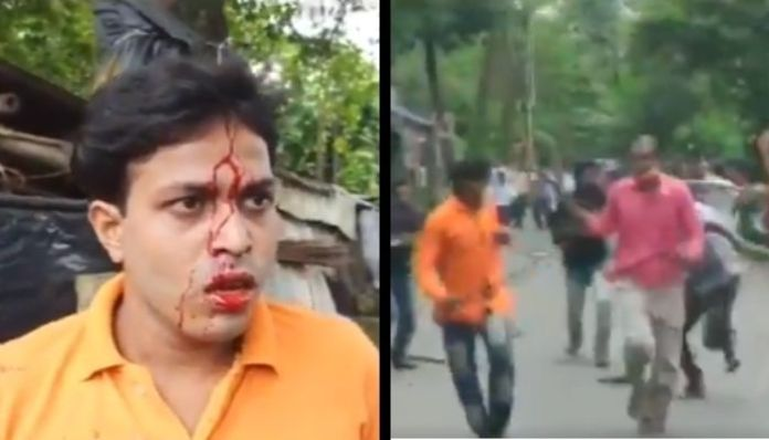 West Bengal: TMC goons attack BJP workers during a rally in South 24 Parganas