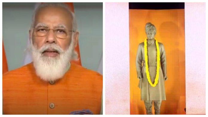 PM Modi unveils the statue of Vivekananda in JNU