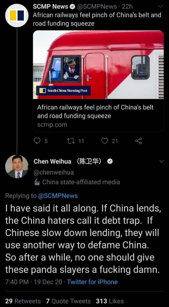 Chen Weihua gets abusive