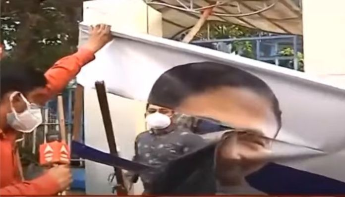 West Bengal: Contract workers tear down banners of Mamata Banerjee