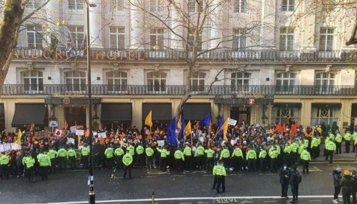 London: Khalistani flags, slogans raised outside Indian High Commission