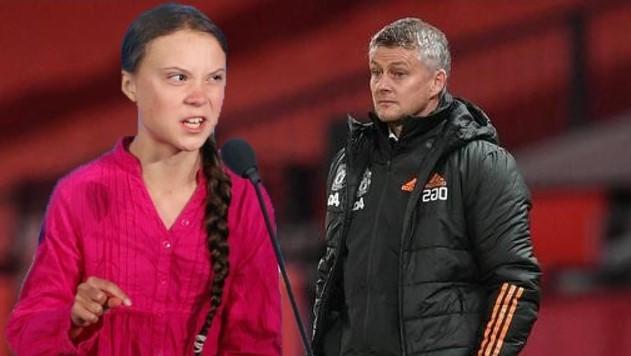 Greta Thunberg with Ole Gunnar Solskjaer