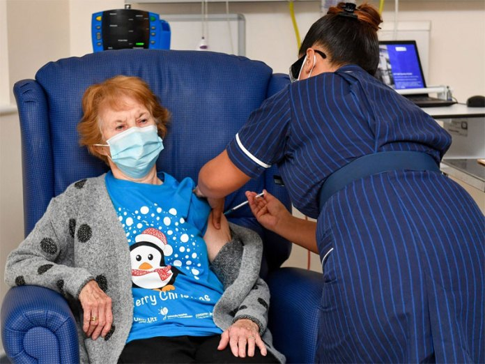 Margaret Keenan, a 90-year-old UK citizen becomes the first to receive COVID vaccine