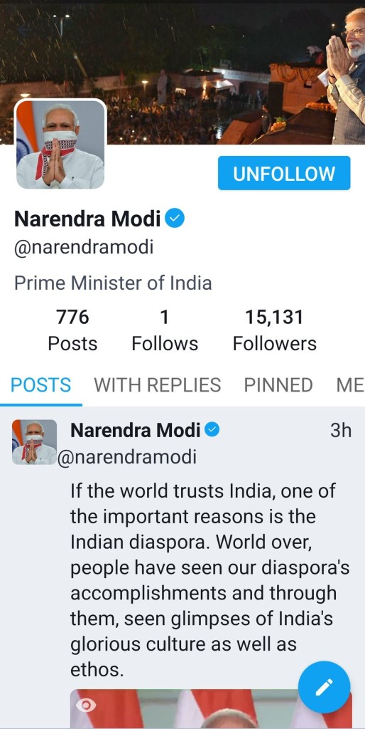 PM Modi account on Tooter