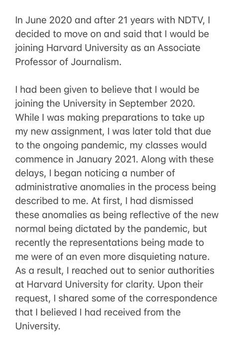 The statement by Nidhi Razdan