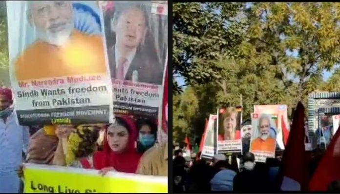 Pakistan: Protestors raise placards of PM Modi, demand support for Sindhudesh