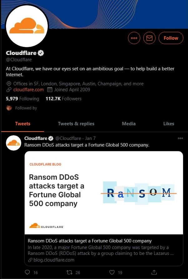 Cloudfare Twitter account has no such tweet