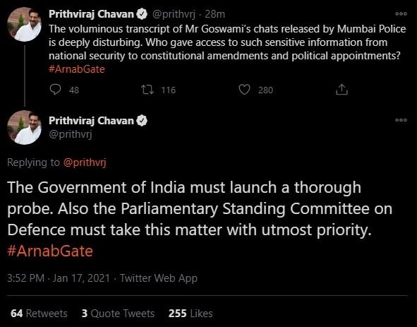 Prithviraj Chavan admits Mumbai Police leaked private WhatsApp chats of Arnab Goswami