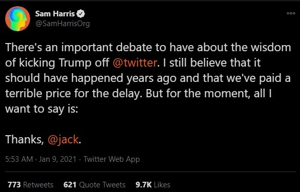 Sam Harris suspension of Donald Trump account