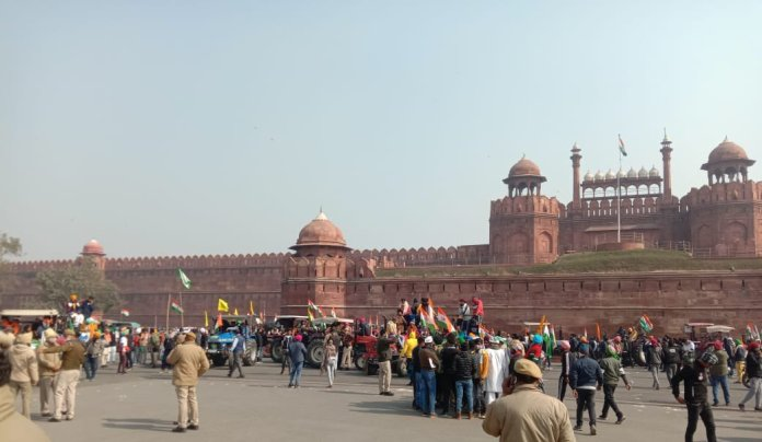 Protesters breached barricades and broke designated routes to reach the Red Fort