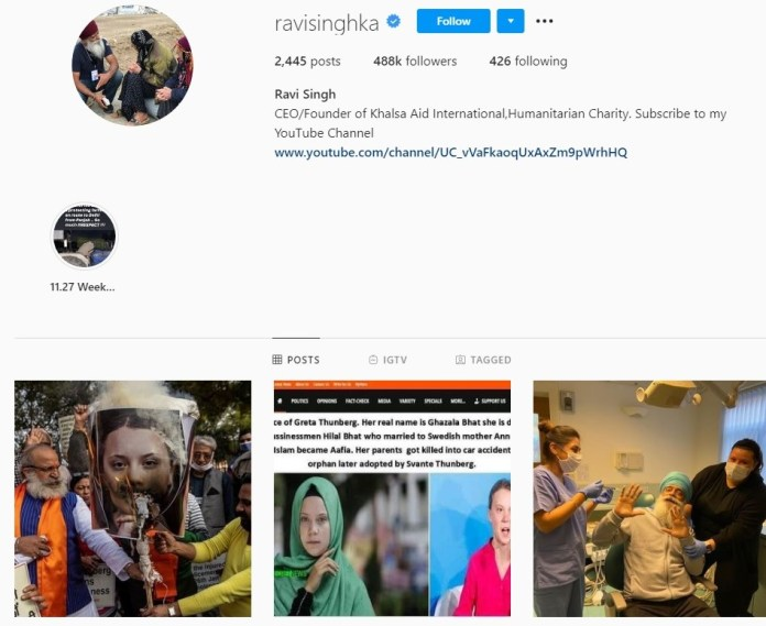 Ravi Singh Instagram bio