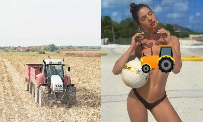 Team Kisan offers to receive playboy model Amanda Cerny at the airport in a tractor