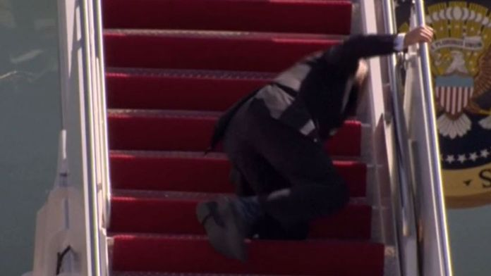 Joe Biden and Donald Trump: How the media covered the stairs mishaps