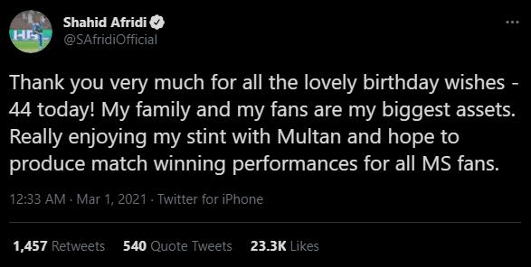 Shahid Afridi birthday tweet