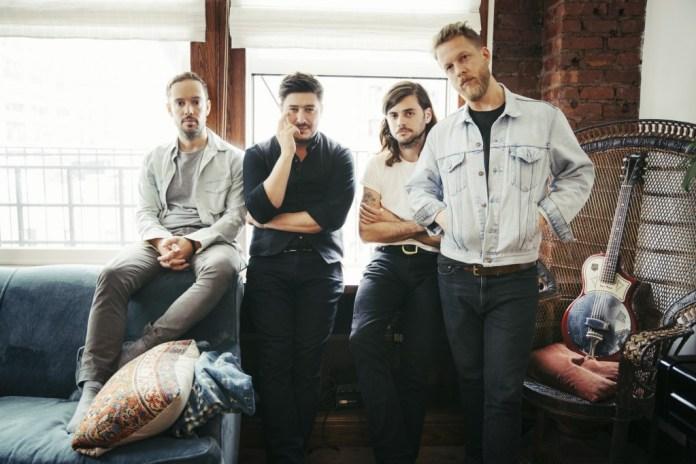 Mumford & Sons band members, Winston Marshall third from left