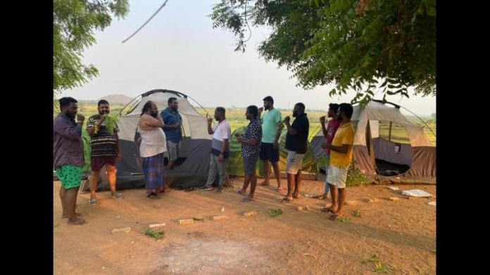 BJP workers staying in trekking tents in tribal hamlets of Nagarjunasagar constituency