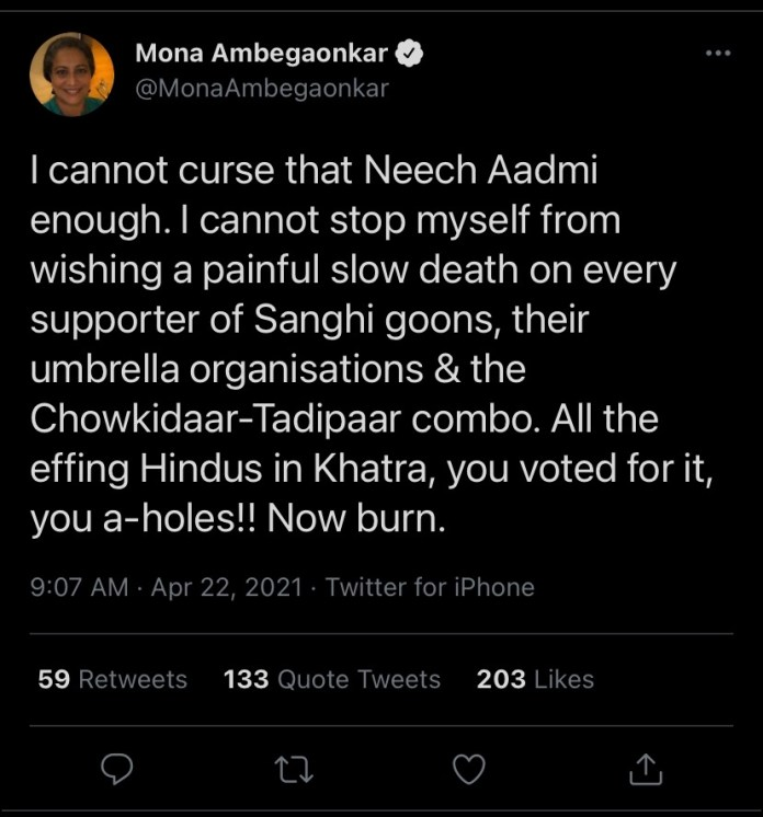 Liberals wish death upon Sanghis amidst Covid-19 crisis