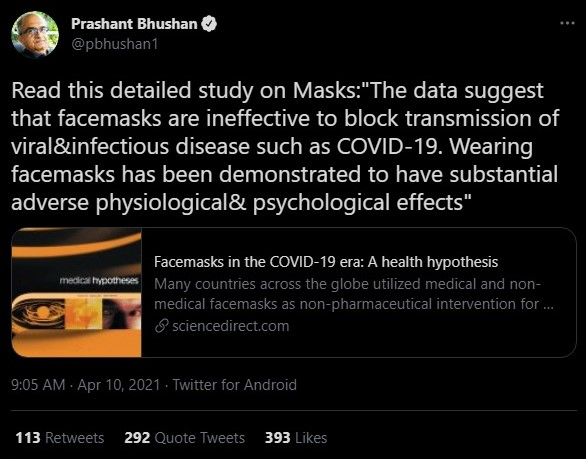 Prashant Bhushan spreads anti-mask conspiracy theories