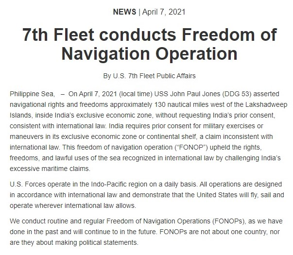 US Navy Statement