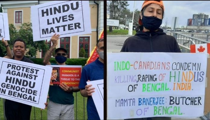 Indian diaspora take out demonstration against West Bengal violence