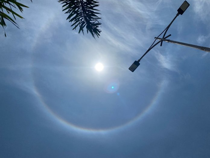 A 22-degree halo was observed in the Bengaluru sky on Monday afternoon