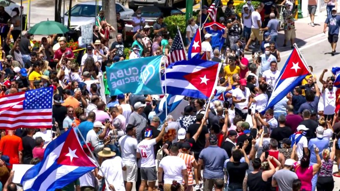 Thousands of protesters gather across cities and towns of Cuba to mark their protest against the Communist regime