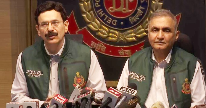 Delhi Police Special Cell address a press conference after busting a terror module