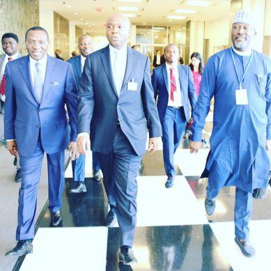 Senator Andy Uba, Senator Abubakar Bukola Saraki, Senator Dino Melaye on the way to the Bilateral meeting with France at the United Nations Head Quarters