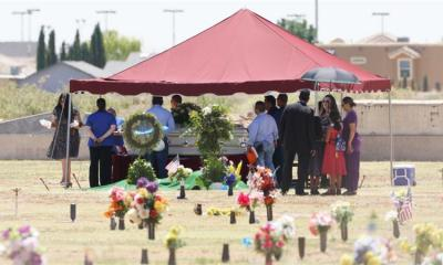 Family and friends gather for Jordan Anchondos funeral service at Evergreen Cemetery in El Paso Texas on Saturday