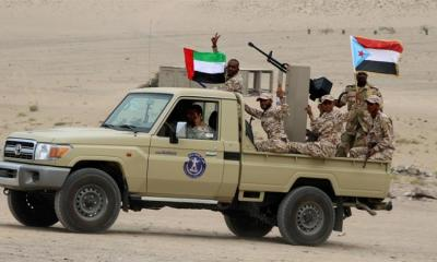 Newly recruited troops of the UAE backed separatist Southern Transitional Council are seen on a vehicle during their graduation in Aden Yemen