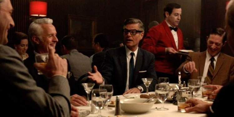Mad men having dinner