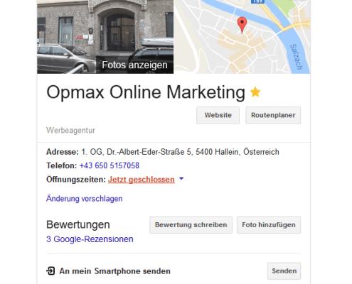 Google my Business, lokal gefunden werden