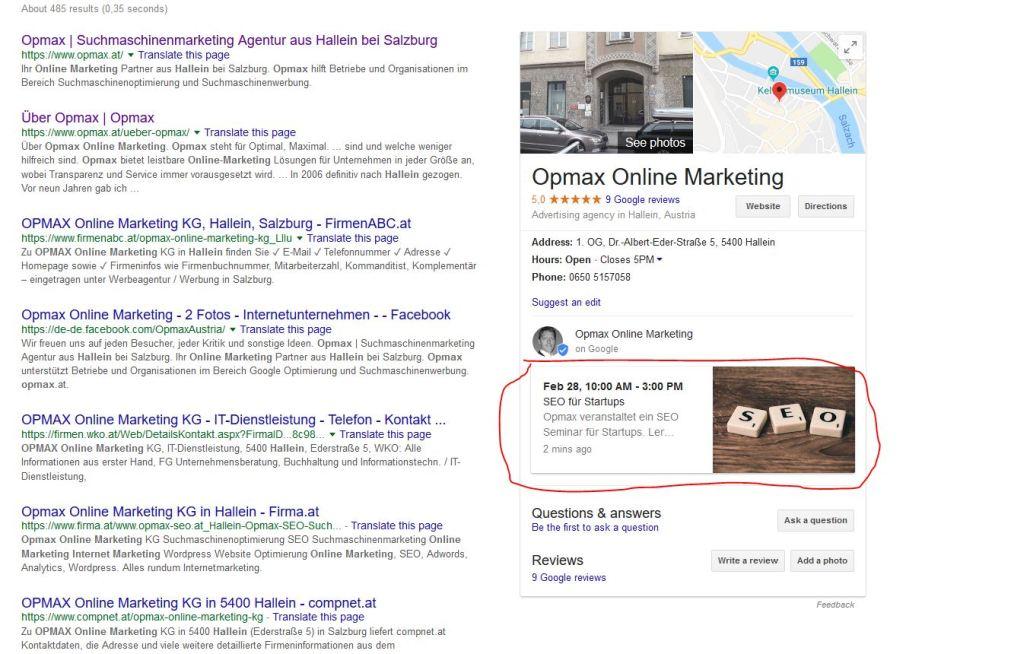 Posten auf Google my Business