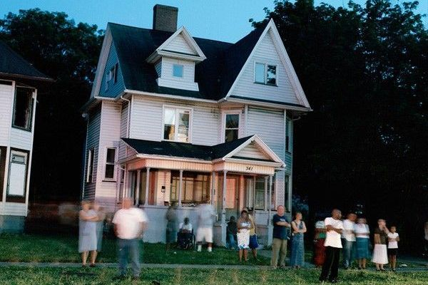 House with Crowd in Front 001