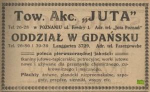 Reklama spółki akcyjnej Juta - oddziału w Gdańsku