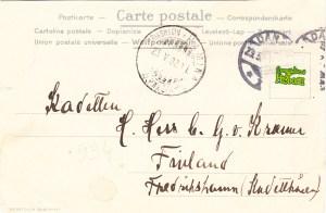 Stągwie Mleczne - tył pocztówki wysłanej do Finlandii